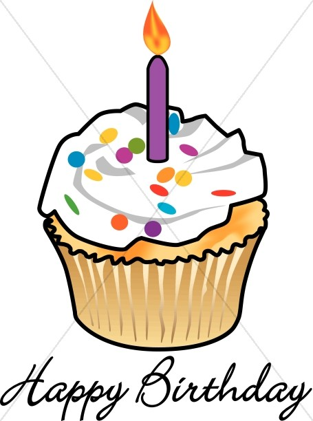 With church. Candle clipart birthday cupcake