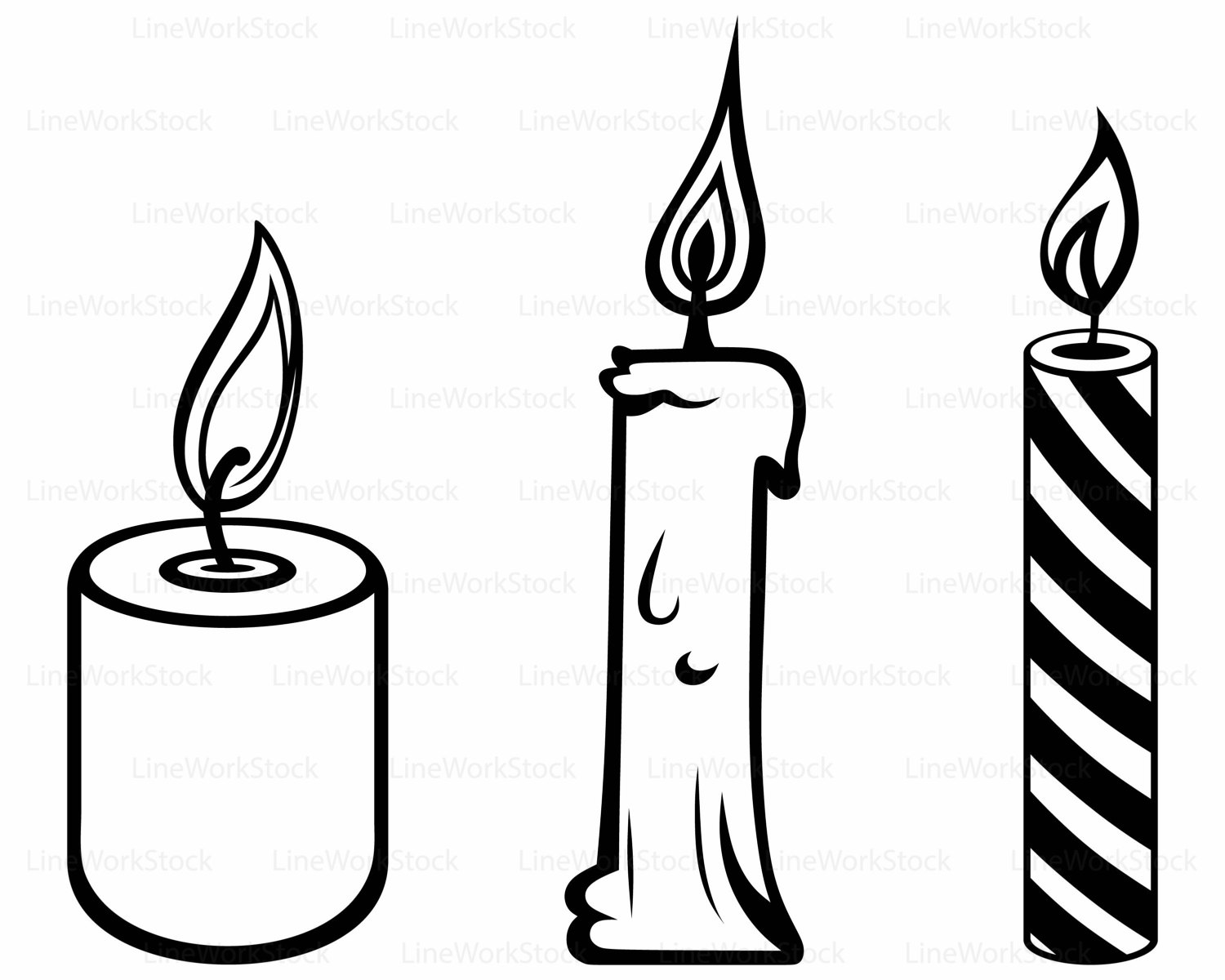 Candle clipart black and white. Great clip art candles