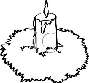 Candles clipart burning. Black and white cartoon