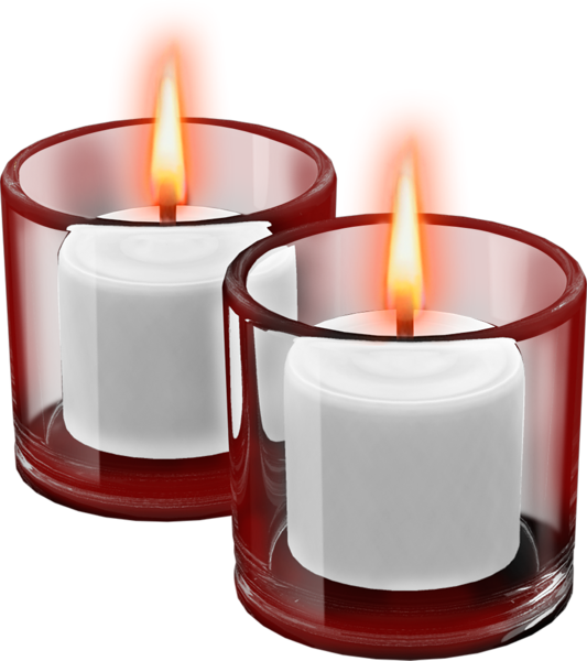 Red cups with candles. Clipart png candle