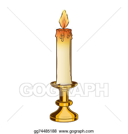 Candle clipart candlestick. Drawing burning old and