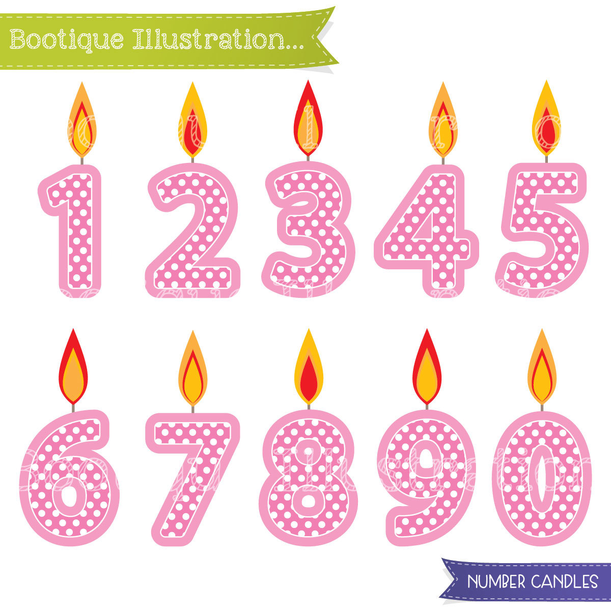 Pink number girls birthday. Candles clipart kid