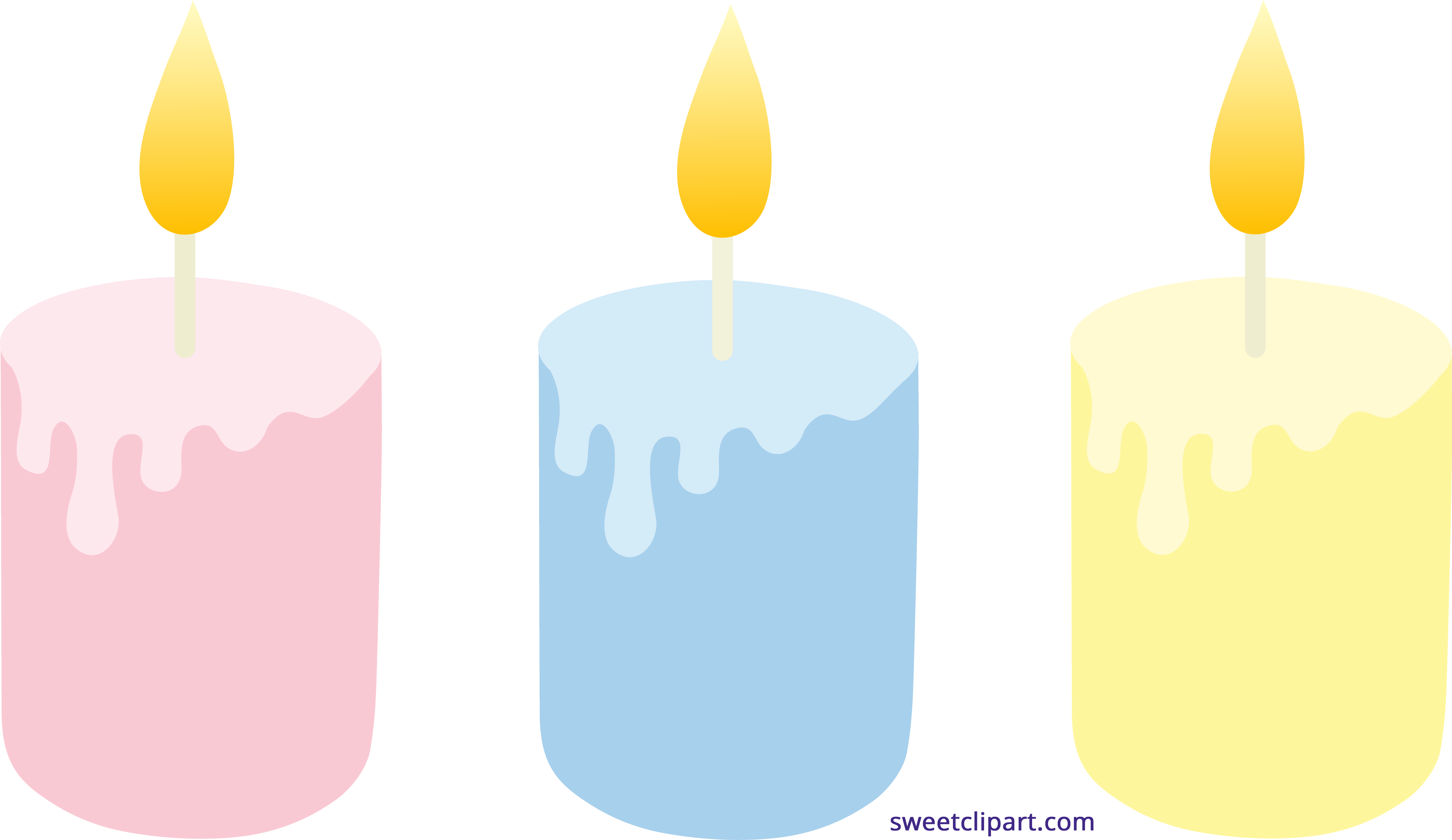Candles clipart colored. Pastel set sweet clip
