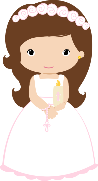 First girl with candle. Candles clipart communion