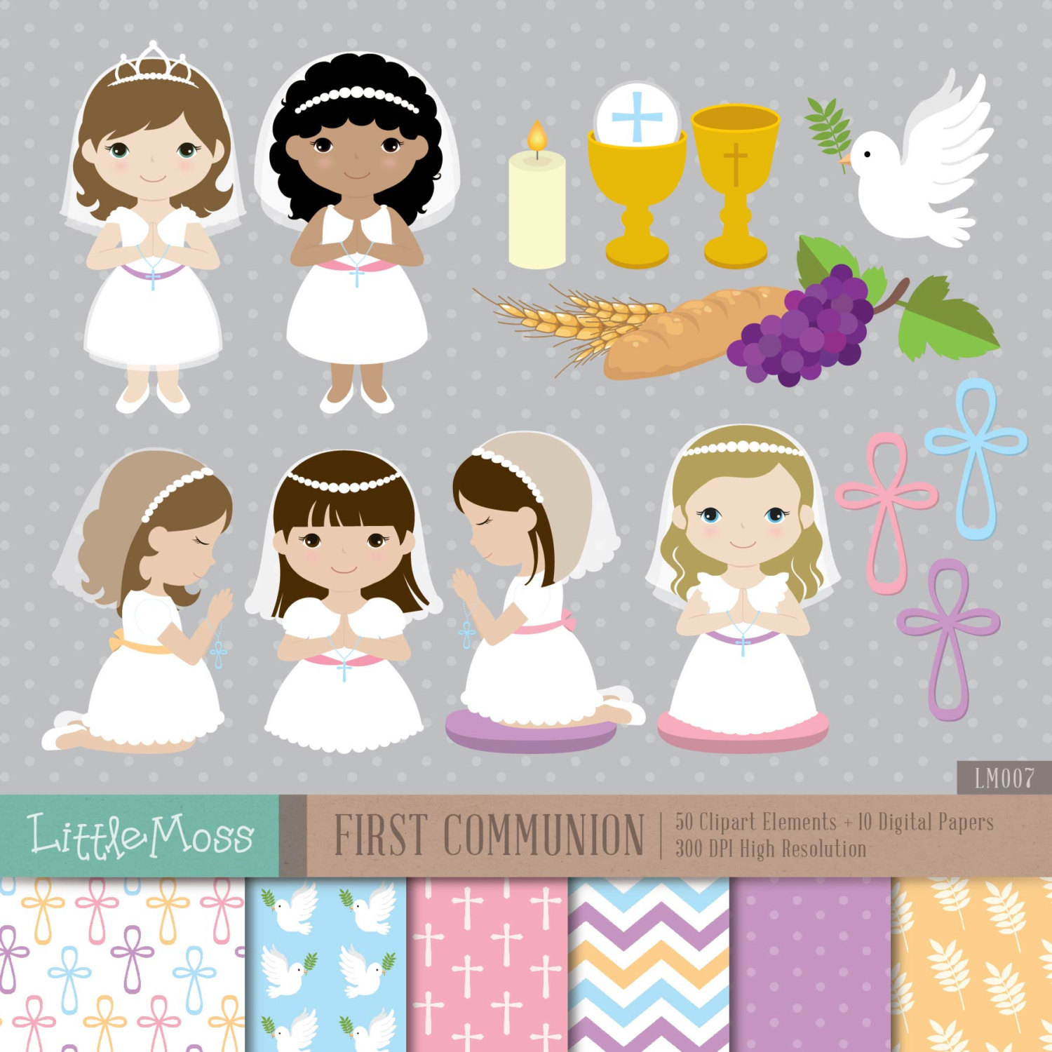 Girl first digital and. Candles clipart communion