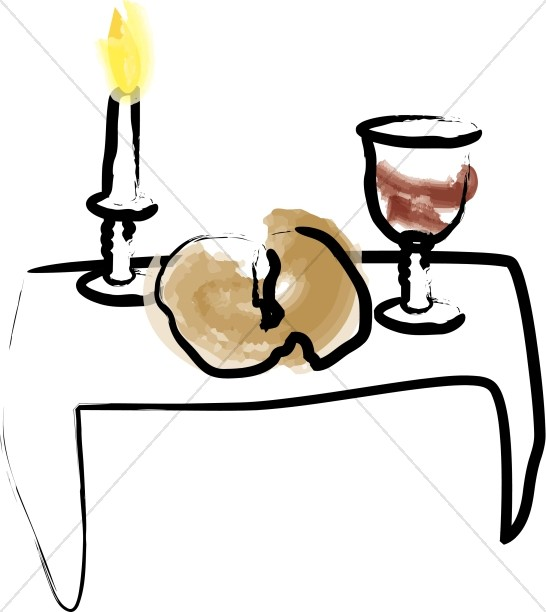 Watercolor candle with bread. Candles clipart communion