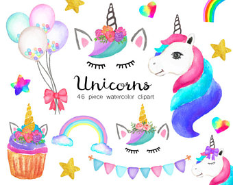 Unicorn clip art etsy. Candle clipart cute