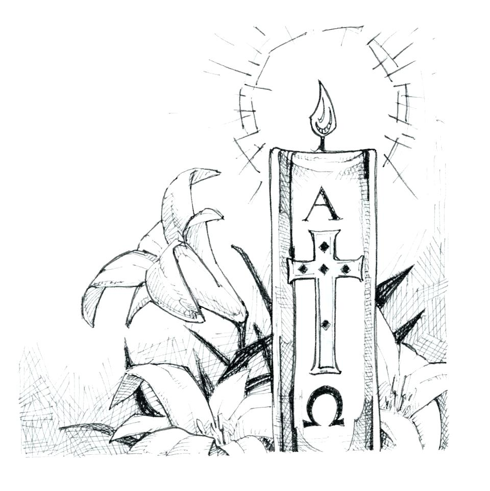 Candles clipart easter vigil. Paschal candle coloring page