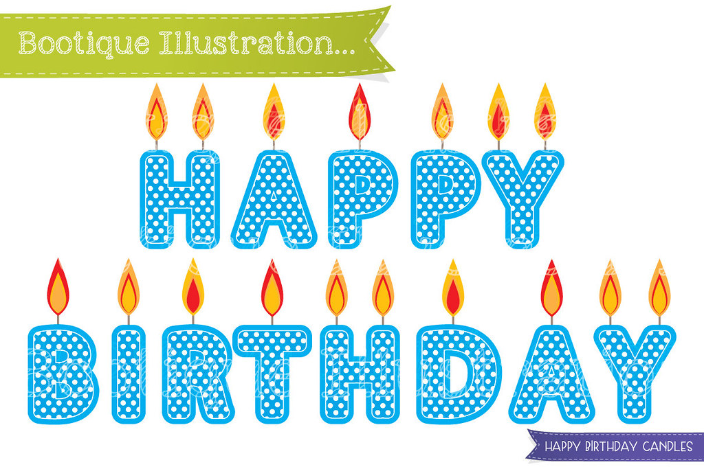 Candles clipart happy birthday. Blue can