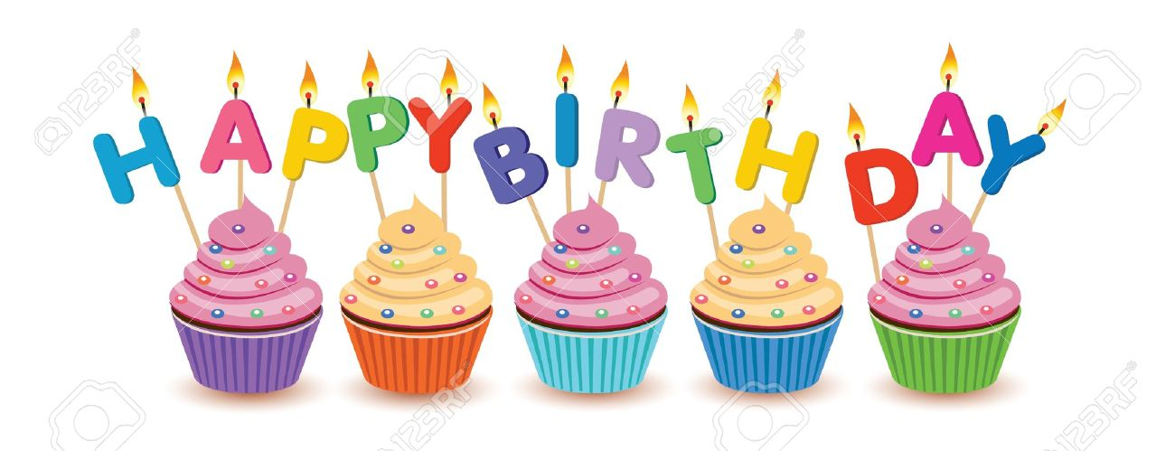Clipart birthday cupcake. Happy candles candle first