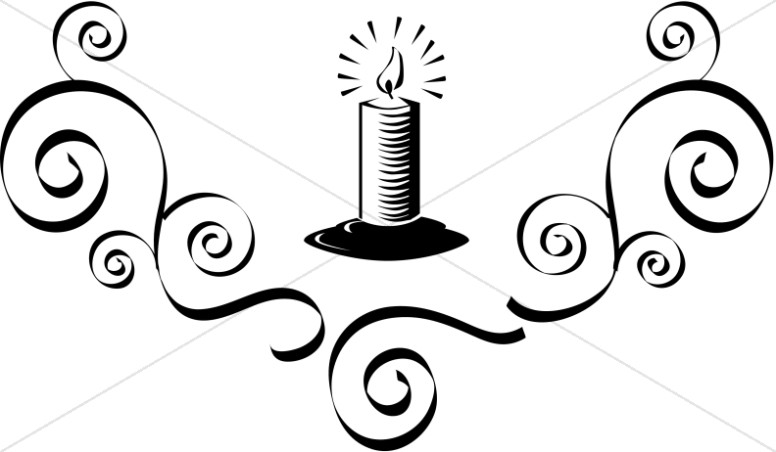 Lit candle with flourish. Candles clipart line art