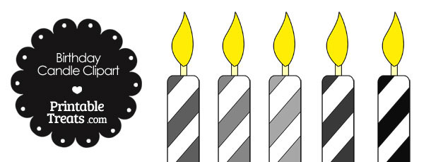 Candles clipart printable. Birthday candle in shades