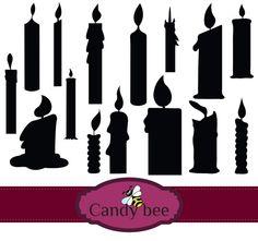 Candles clipart silhouette. Mushroom clip art pack