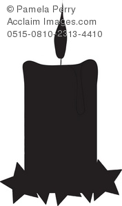 Clip art illustration of. Candle clipart silhouette
