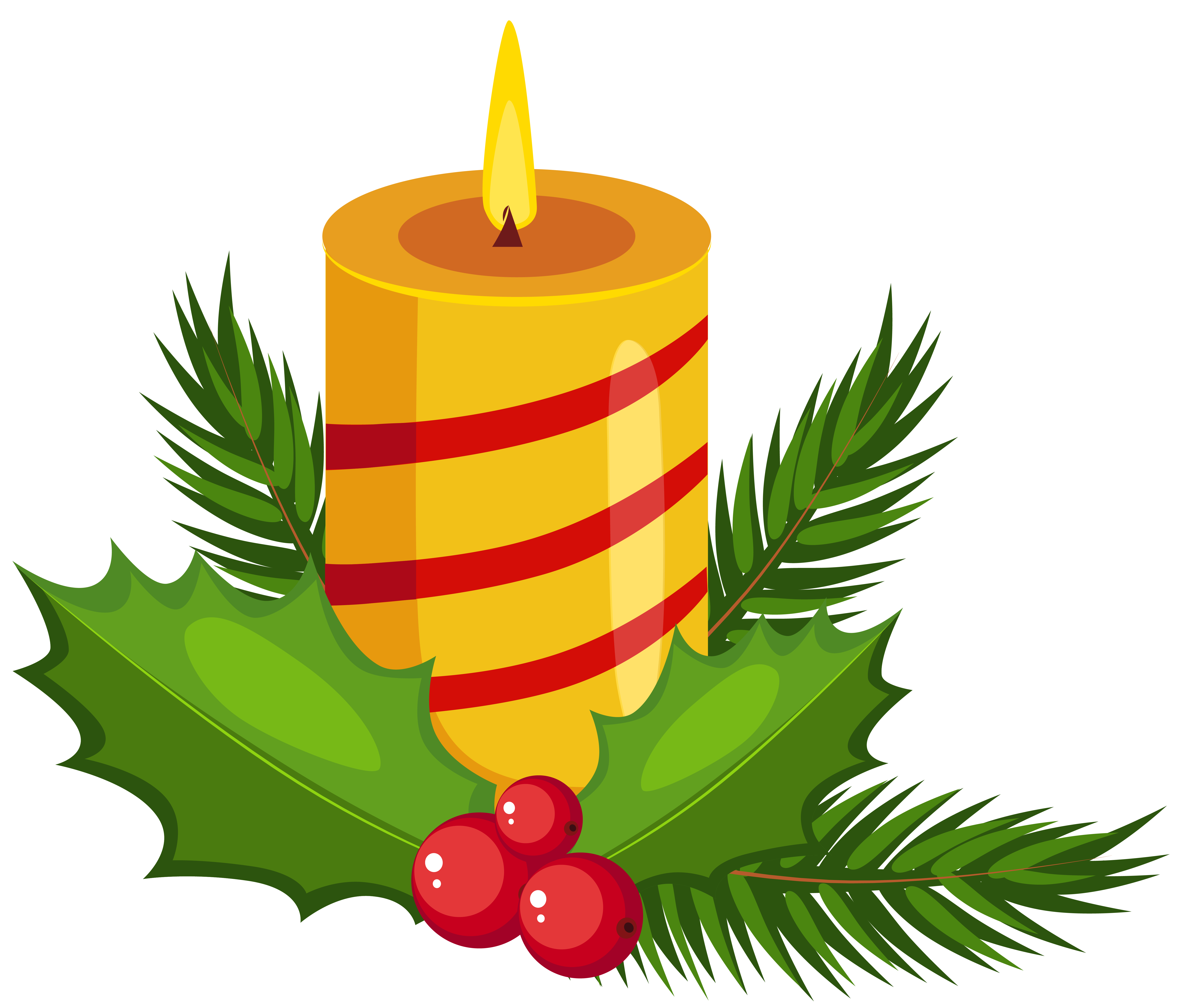 Holly candle transparent png. Clipart christmas leaves