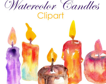 Candles clipart watercolor. Candle hobby commercial use