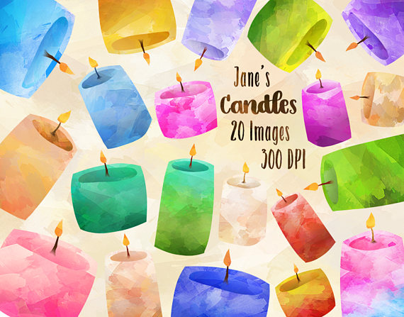 Scented . Candles clipart watercolor