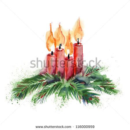 Candles clipart watercolor. Christmas pinterest