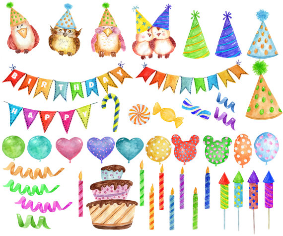 Party kids cute owls. Candles clipart watercolor
