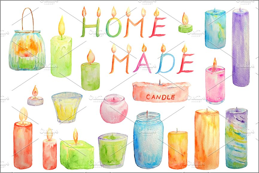 Glowing illustrations creative market. Candles clipart watercolor