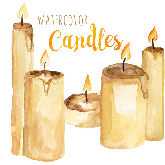candles clipart watercolor