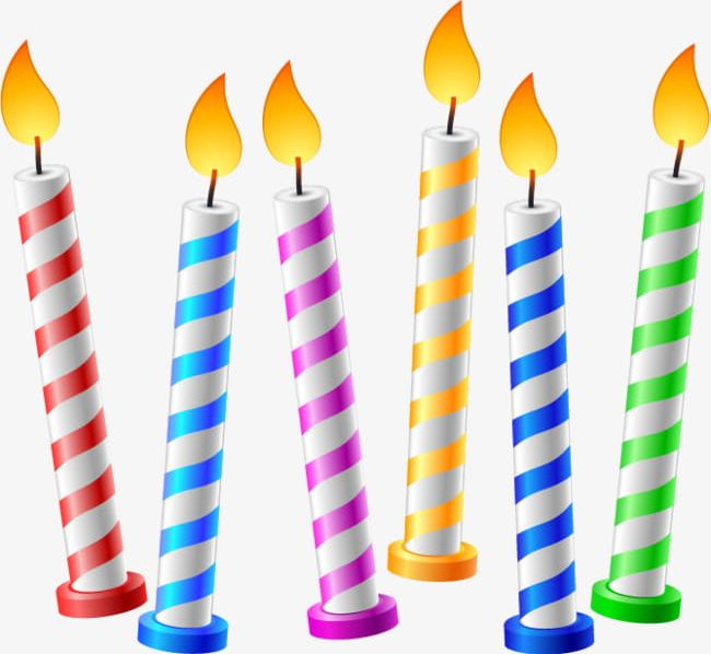 Candles clipart. Hand painted birthday png