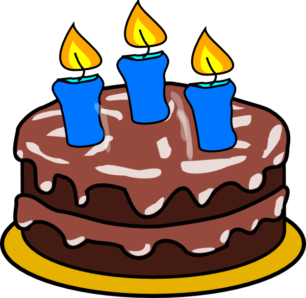 R clipart three. Cake with candles clip