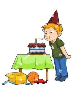 Happy boy showing off. Candles clipart animated