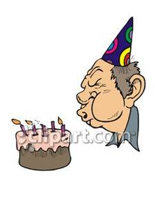 An old man blowing. Candles clipart cartoon