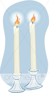 Two wedding. Candles clipart cartoon