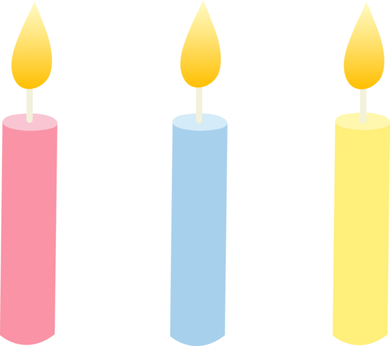 Three pastel colored birthday. Candles clipart cute