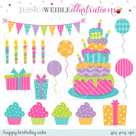 Happy birthday cake digital. Candles clipart cute