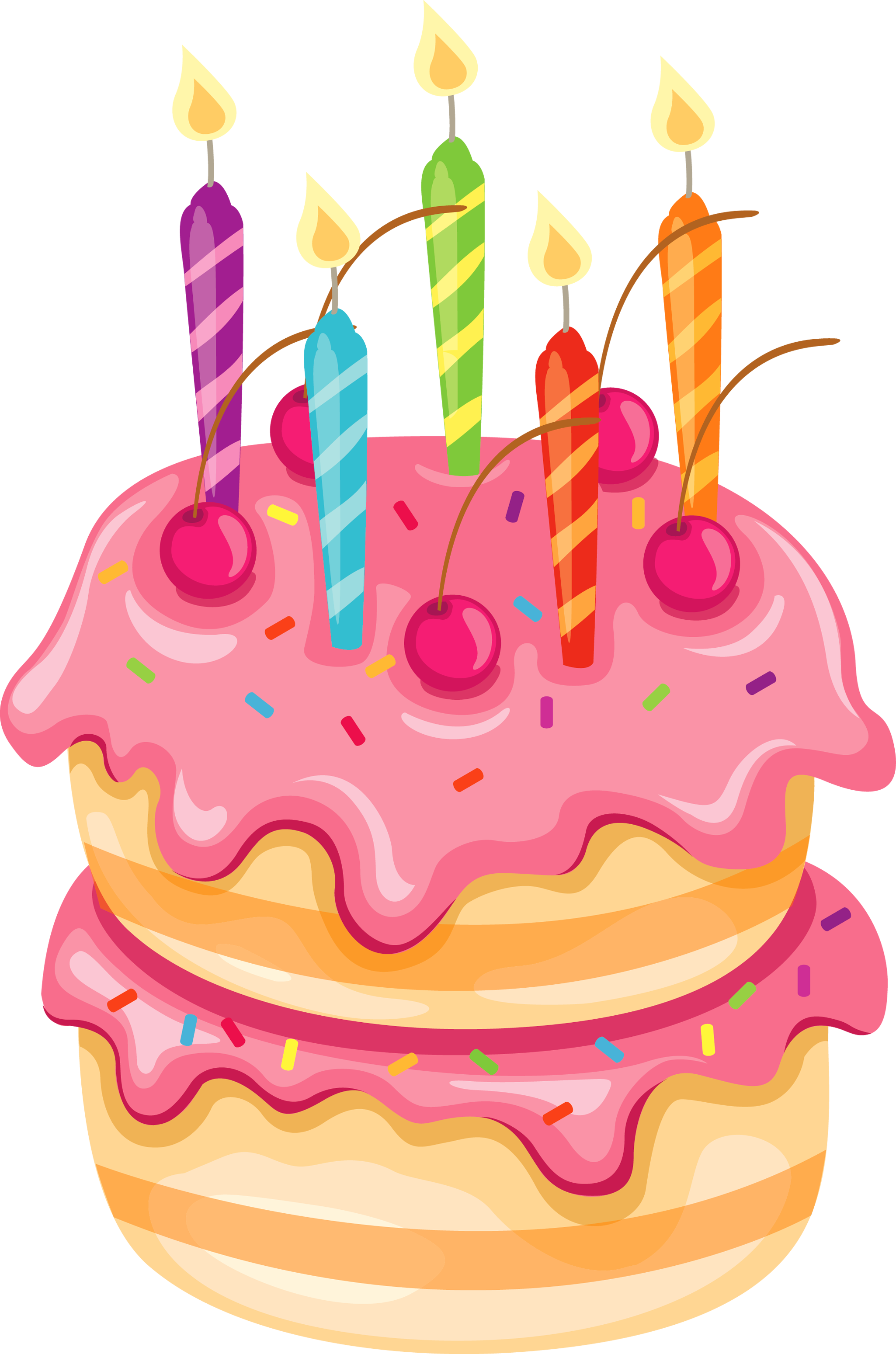 Pink with candles png. Clipart cake whimsical