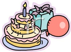 Birthday cake with one. Candles clipart fancy