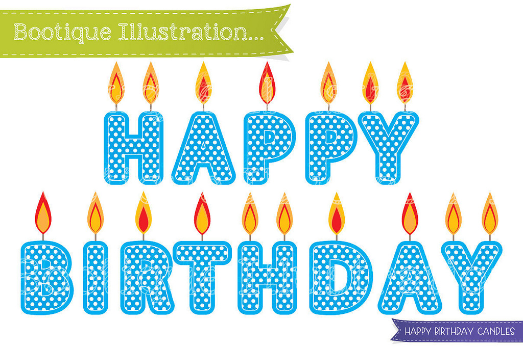 Blue can flickr clip. Candles clipart happy birthday