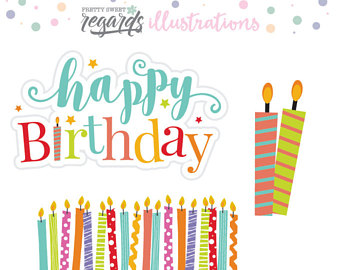 Candles clipart happy birthday. Etsy clip art graphic