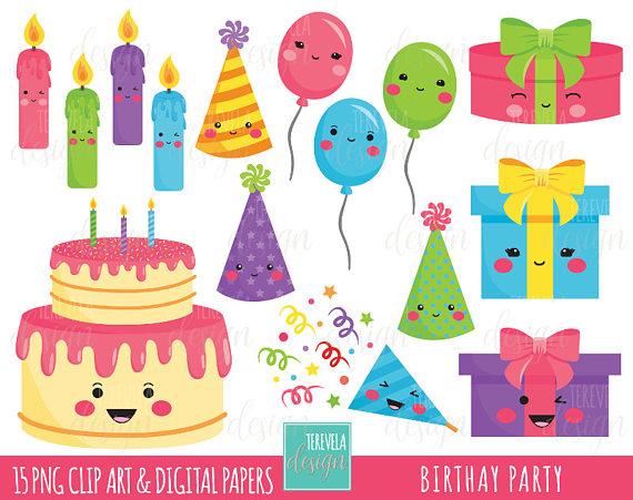 sale birthday party. Candles clipart kawaii