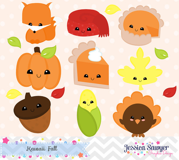 Instant download fall and. Candles clipart kawaii