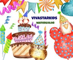 Tea time party cake. Candles clipart kid