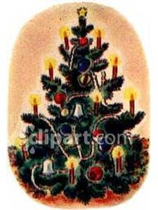 Christmas tree with royalty. Candles clipart old fashioned
