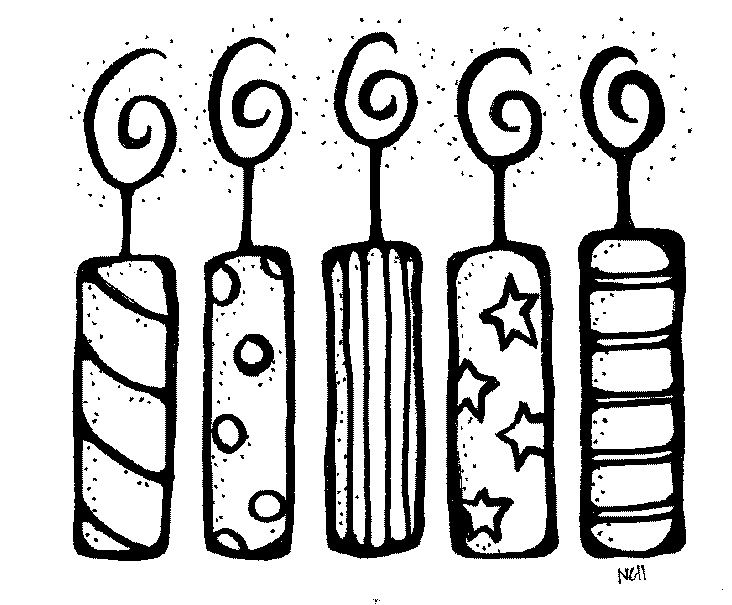 Birthday candle black and. Candles clipart outline