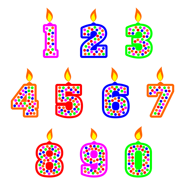 Birthday candle numbers svg. Candles clipart pdf