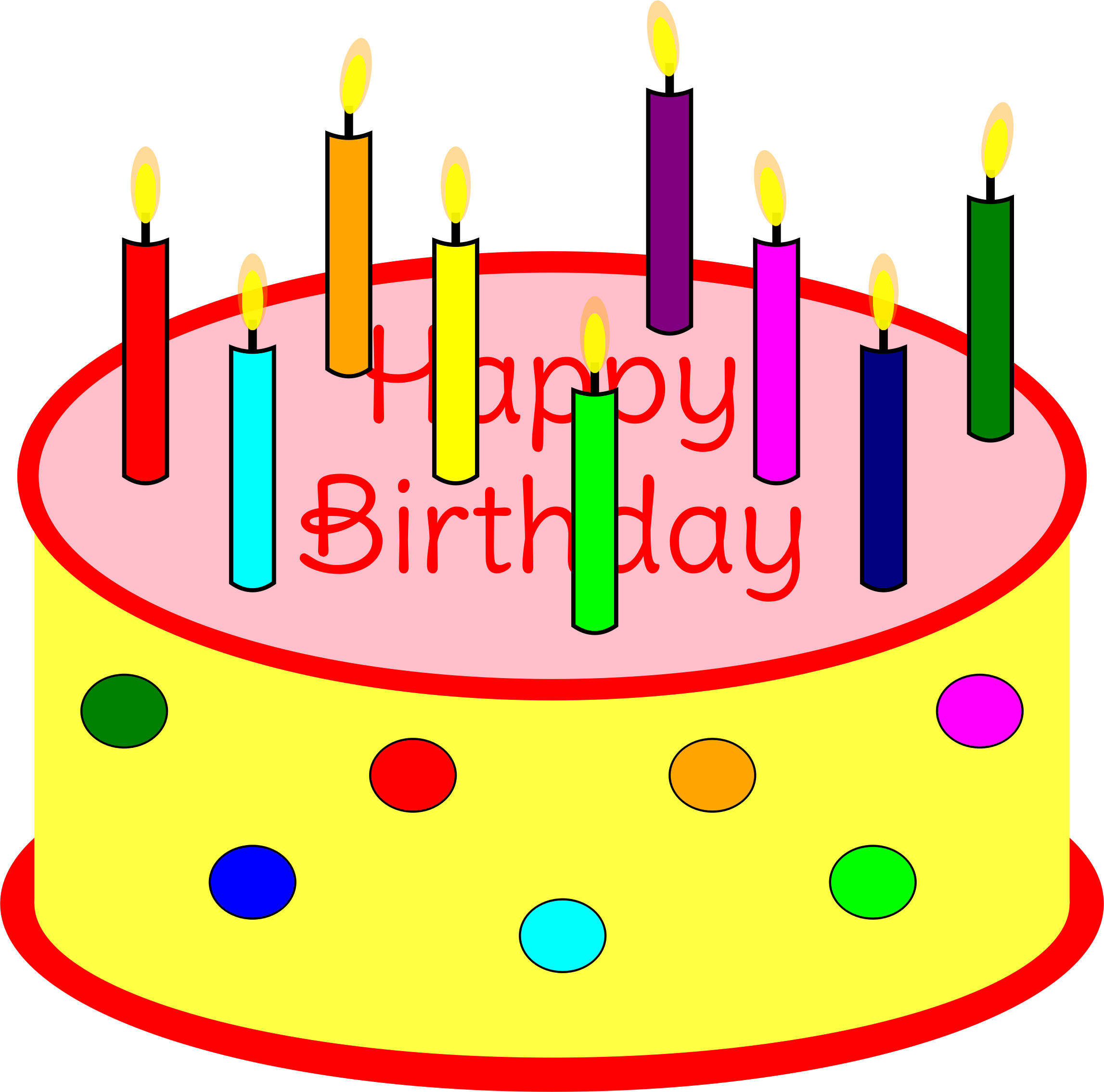 Flickering candle birthday big. Clipart cake music