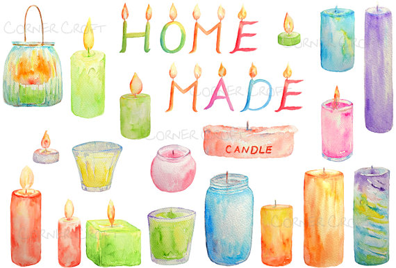 Candles clipart printable. Watercolor scented letter instant