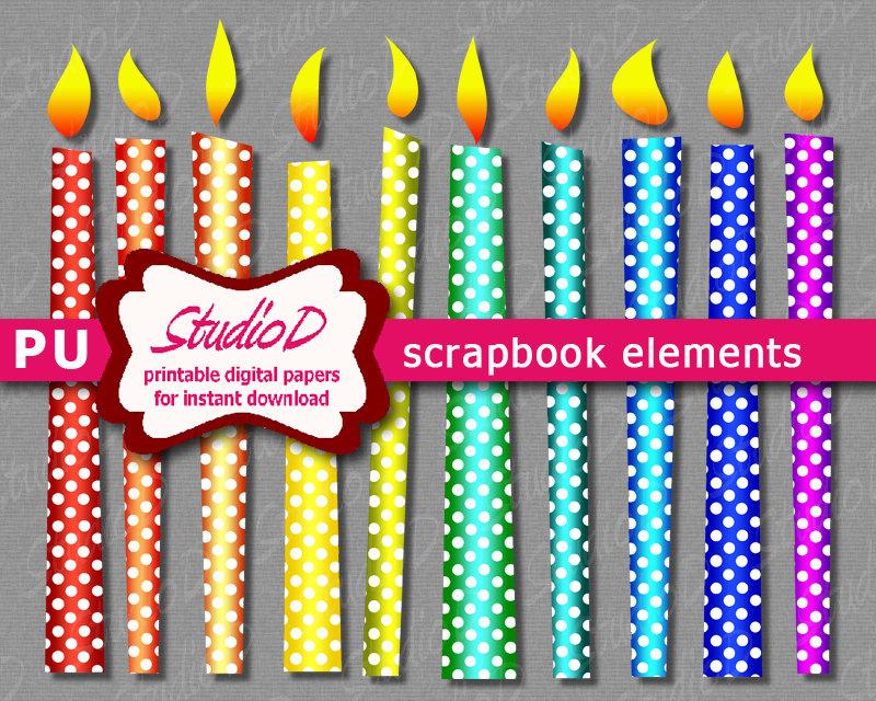 Polka dots candle digital. Candles clipart printable