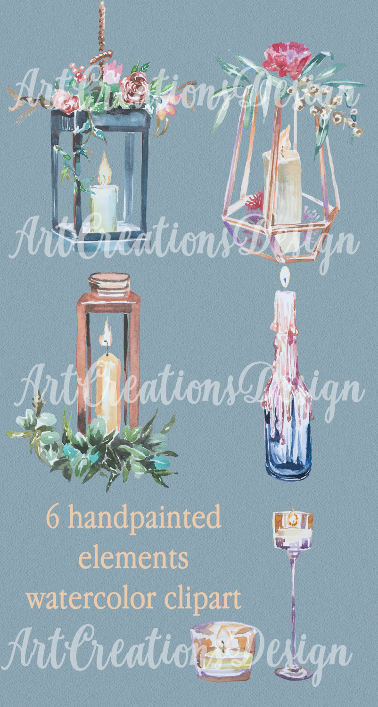 Handpainted wedding diy design. Candles clipart watercolor
