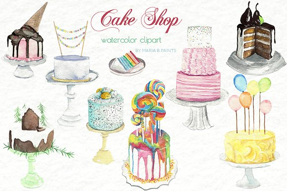 Clip art cakes illustrations. Candles clipart watercolor