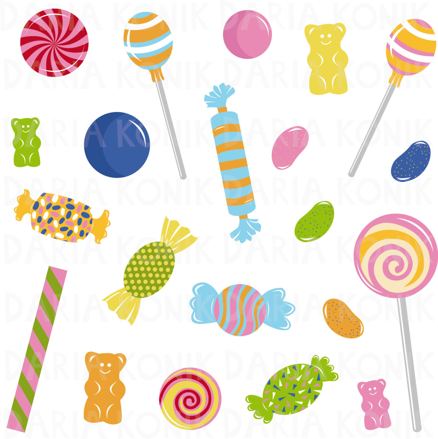 Candy clipart. Clip art set sweets