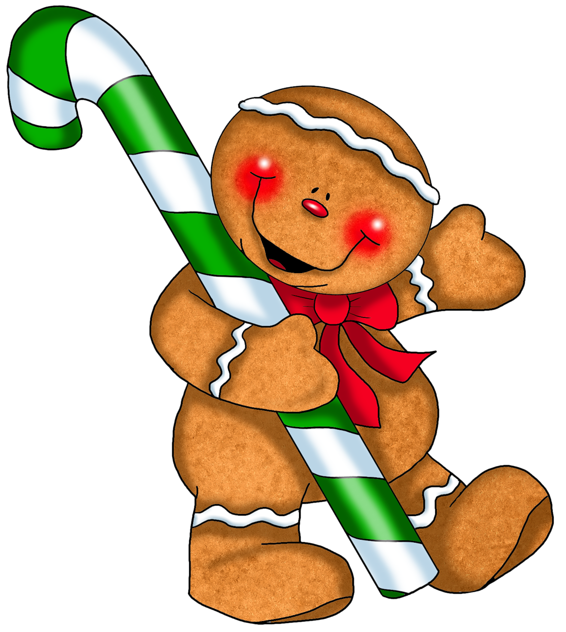Gingerbread ornament with cane. Movies clipart candy
