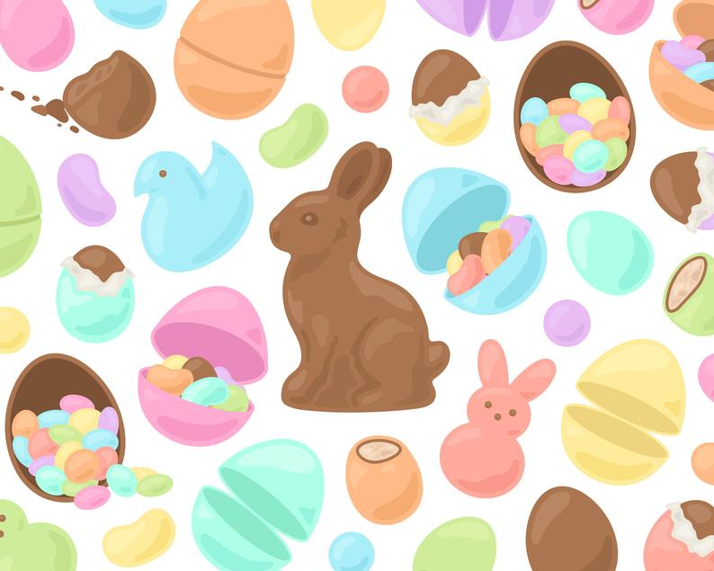 Clipart easter candy. Pastel chocolate bunny egg